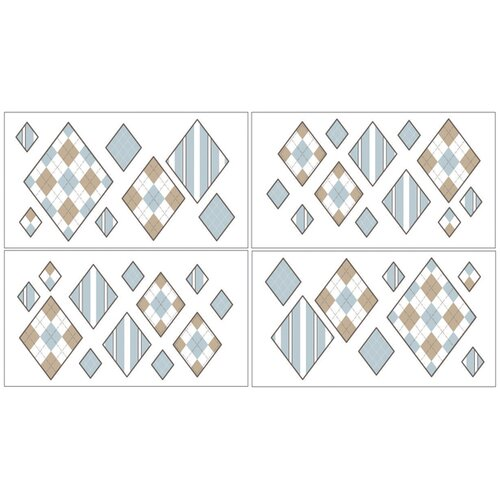 Sweet Jojo Designs Argyle Wall Decal 4 piece set