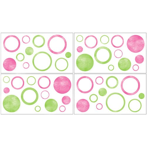 Sweet Jojo Designs Circles Pink Wall Decal 4 piece set