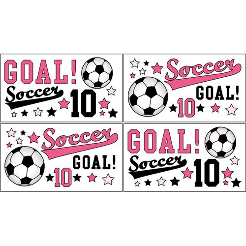 Soccer Pink Wall Decal 4 piece set