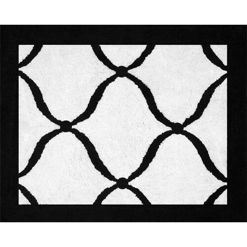 Sweet Jojo Designs Princess Black, White and Purple Collection Floor Rug