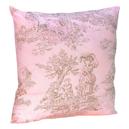 Pink and Brown Toile Decorative Pillow with Toile Print