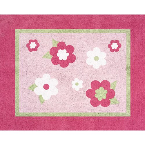 Sweet Jojo Designs Flower Pink and Green Collection Floor Rug
