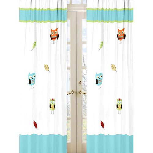 Sweet Jojo Designs Hooty Turquoise and Lime Cotton Curtain Panel