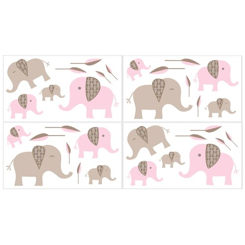 Sweet Jojo Designs Elephant Pink Wall Decal 4 piece set