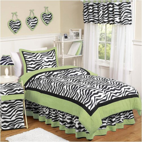 Sweet Jojo Designs Zebra Lime Comforter Set