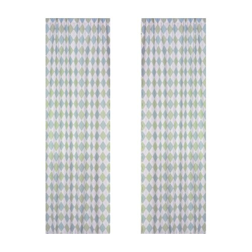 Sweet Jojo Designs Argyle Green Blue Cotton Curtain Panel