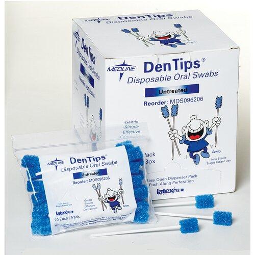 Medline Dentips Untreated Disposable Oral Swab Hygiene Product