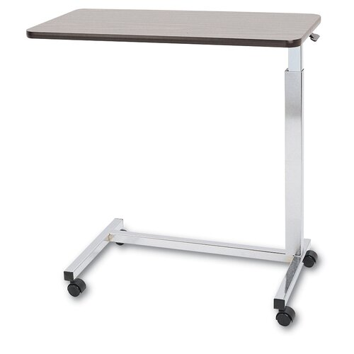 Medline Overbed Walnut Table with Chrome Base