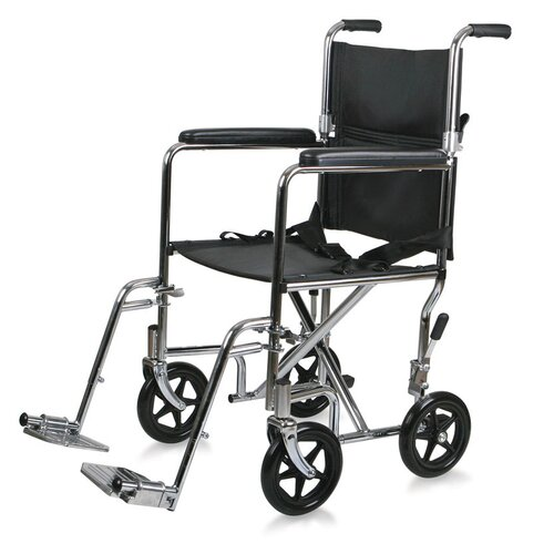 """Medline Steel 17"""" Ultra Lightweight Transport Bariatric Wheelchair with Permanent Full-Length Arms"""
