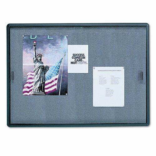 Quartet® Enclosed Bulletin Board, Fabric/Cork/Glass, 48 x 36, Gray, Aluminum Frame