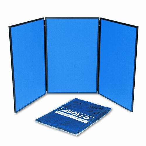 Quartet® ShowIt Three-Panel Display System, Fabric, Blue/Gray, Black PVC Frame