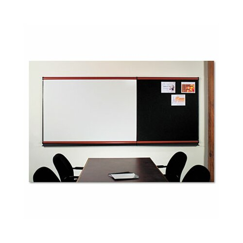 Quartet® Modular Dry Erase Board System with Mahogany Frame in White