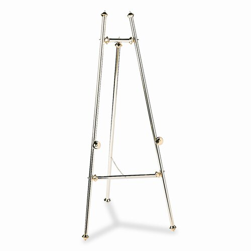 "Quartet® Decorative Display Easel, 69"" High, Brass/Brass Finish"