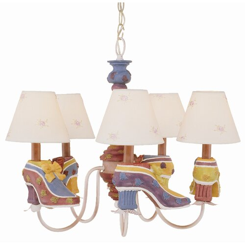 TransGlobe Lighting Kids Korner 5 Light Kids Retro Shoe Chandelier