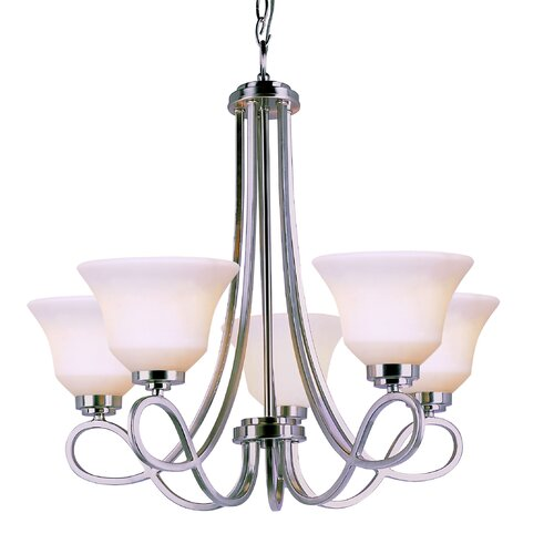 TransGlobe Lighting 5 Light Chandelier with Opal Shade