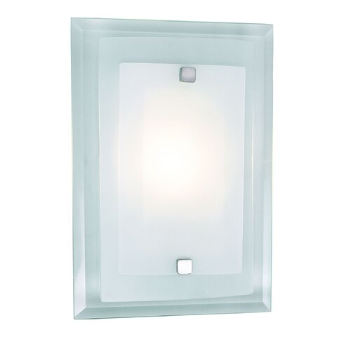 TransGlobe Lighting 1 Light Square Wall Sconce with Glass Shade