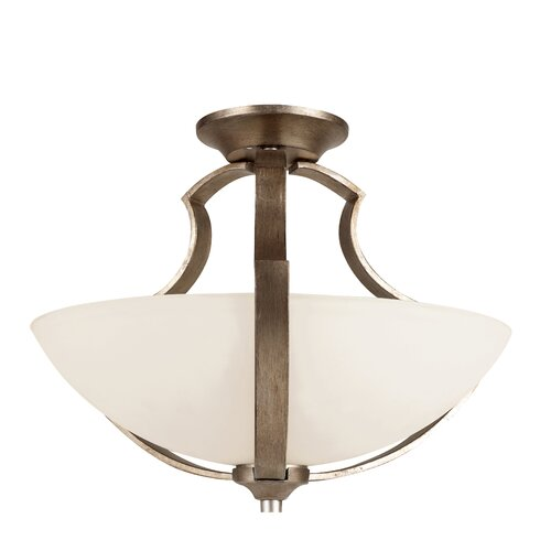 TransGlobe Lighting Silver Leaf 2 Light Semi-Flush Mount