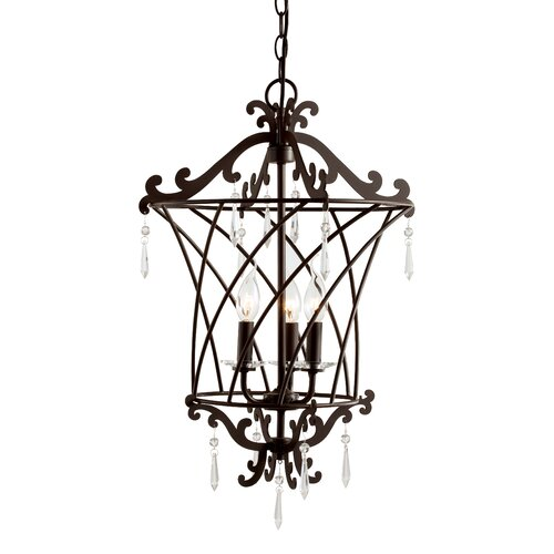 TransGlobe Lighting Basket Weaved 3 Light Foyer Pendant