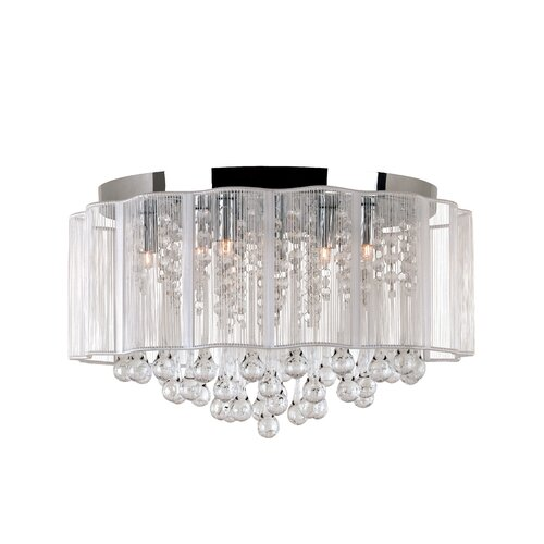 TransGlobe Lighting Veiled Modern 8 Light Flush Mount