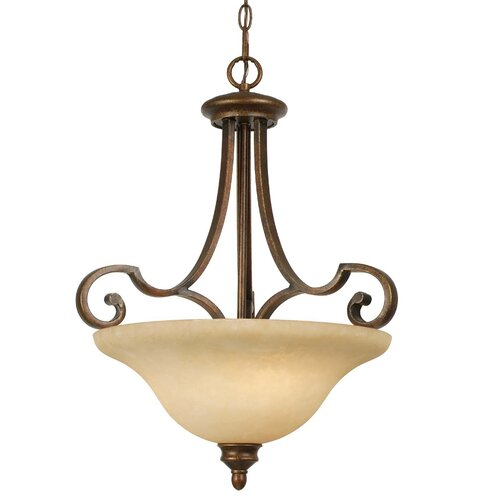 Golden Lighting Rockefeller 3 Light Bowl Inverted Pendant
