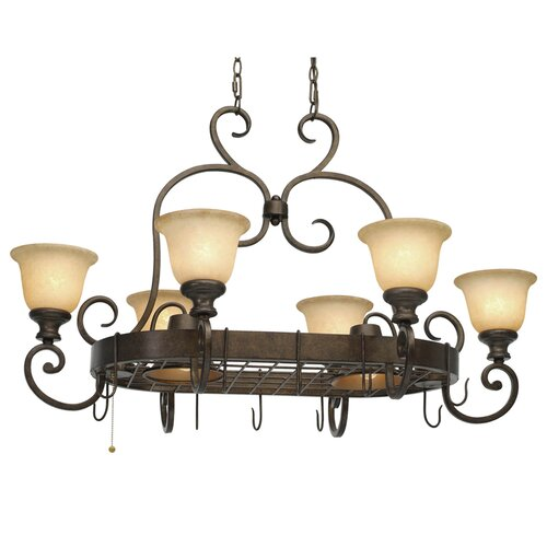 Heartwood Chandelier Pot Rack with 8 Light