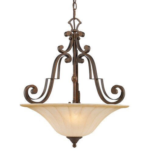 Golden Lighting Pemberly Court 3 Light Bowl Inverted Pendant