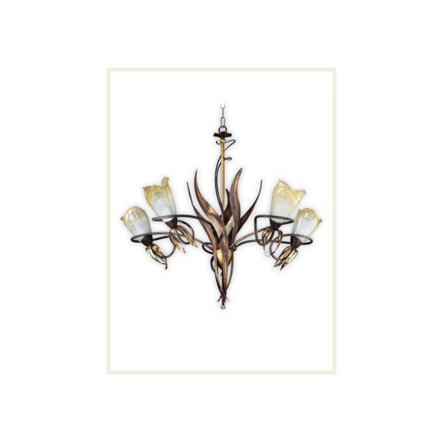 Zaneen Lighting Lombardia Five Light Chandelier in Weathered Coffee