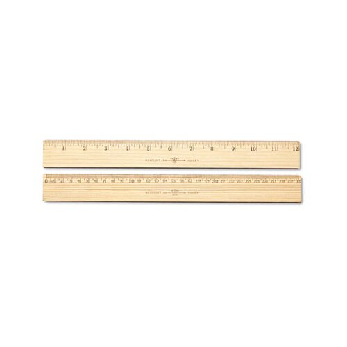 "Acme United Corporation Westcott Wood Ruler, Metric and 1/16"" Scale with Single Metal Edge"