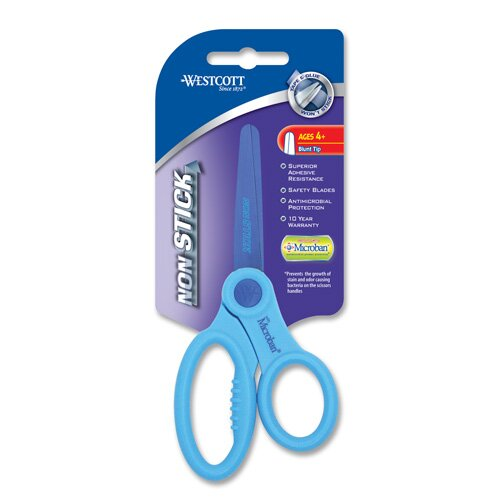 """Acme United Corporation Westcott Non Stick Kids Scissors with Microban Protection, 5"""" Blunt"""