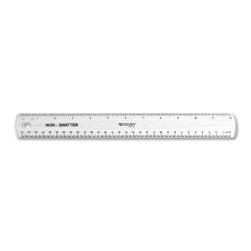 "Acme United Corporation Plastic Ruler, 12"" Long, Shatterproof, Clear"