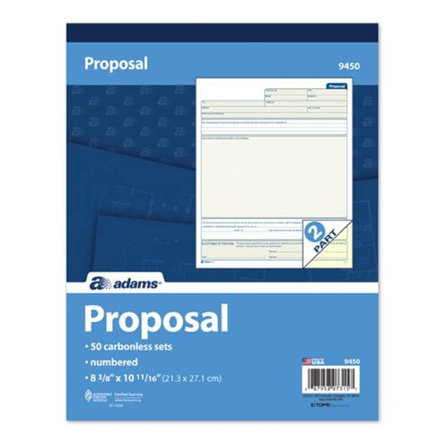 Adams Business Forms 2 Part Carbonless Duplicate Proposal Form Book