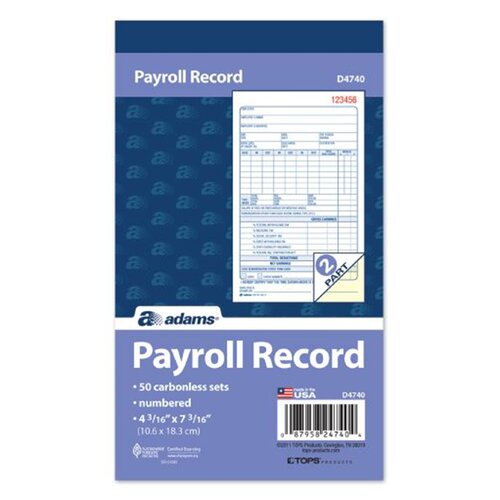 """Adams Business Forms 4.19"""" x 7.19"""" 2 Part Employee Payroll Record Book"""