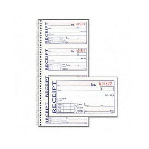 Adams Business Forms Two-Part Rent Receipt Book, 2 3/4 X 4 3/4, Two-Part Carbonless, 200 Forms