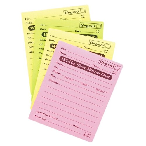 "Adams Business Forms Message Pad, While You Were Out, 4""x5"", 50 Sheets, Assorted"