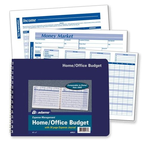 """Adams Business Forms Home/Office Budget Record, 30 Pages, 10-1/2"""" x 7-1/2"""""""
