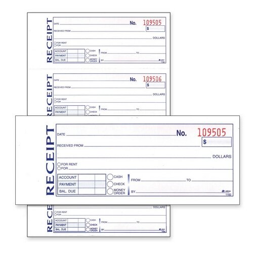 "Adams Business Forms Money/Rent Receipt Book, Carbonless, 2-Part, 7-5/8""x11"", White"