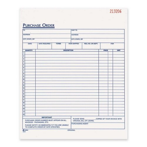 "Adams Business Forms Purchase Order Book, Carbonless, 2-Part, 8-3/8""x10-11/16"", White"