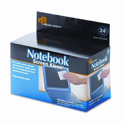 Advantus Corp. Read Right Notebook Screenkleen Pads, Cloth, 2 1/2 X 5 1/4, 24/Box
