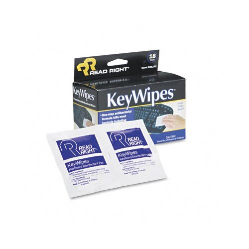 Advantus Corp. KeyWipes Keyboard & Hand Cleaner Wet Wipes, 5 x 6 7/8, 18/bx