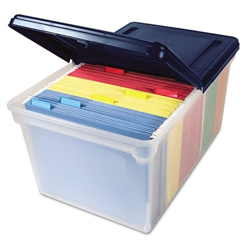 Advantus Corp. Innovative Storage Designs File Tote Storage Box with Lid , Letter, Plastic