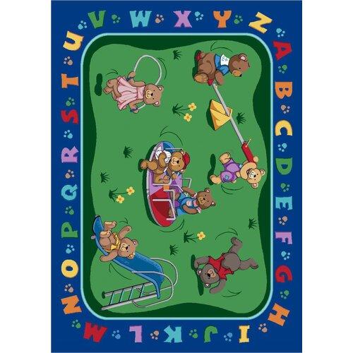 Joy Carpets Educational Teddy Bear Playground Kids Rug