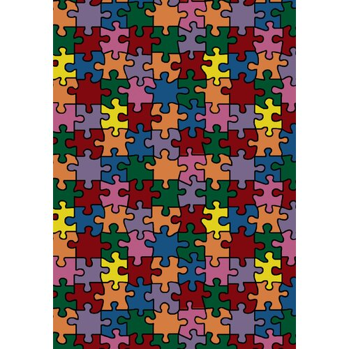 Joy Carpets Whimsy Essentials Puzzled Jigsaw Pieces Kids Rug