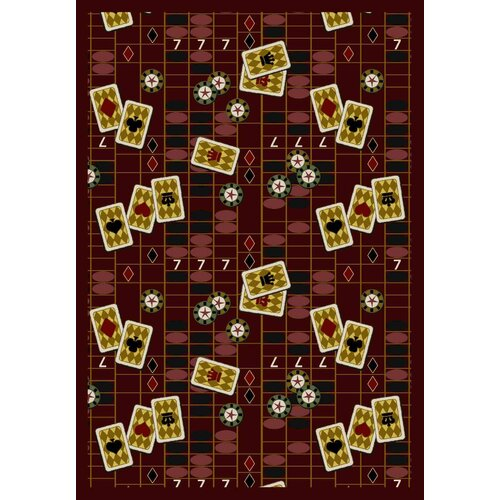 Joy Carpets Gaming and Entertainment Feeling Lucky Burgundy Novelty Rug