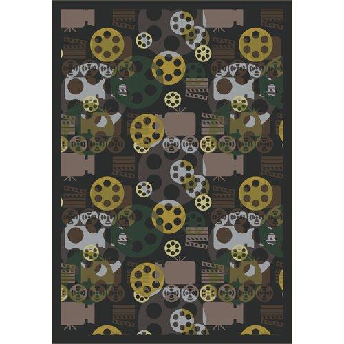 Joy Carpets Gaming and Entertainment Blockbuster Charcoal Novelty Rug