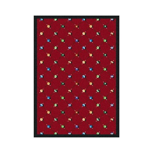Joy Carpets Sports Red Billiards Novelty Rug