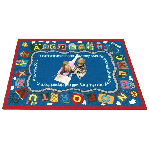 Joy Carpets Faith Based Bible Train Area Rug