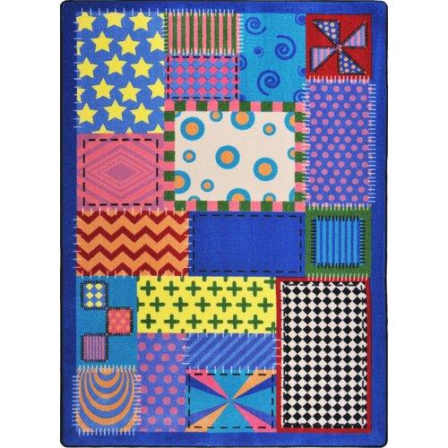 Joy Carpets Kid Essentials Crazy Quilt Blue Area Rug