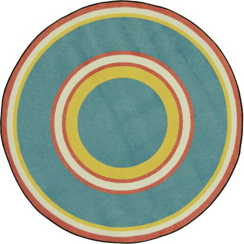 Joy Carpets Kid Essentials Blue/Green Ripples Beach Area Rug