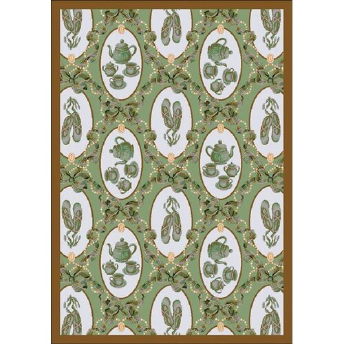 Just for Kids Green Ribbons and Bows Novelty Rug