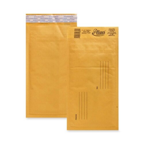 "Alliance Rubber Bubble Mailer,w/Peel and Seal,No. 00,5""x10"",25/CT,Kraft"